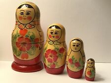 Vintage Russian Matryoshka Babushka Nesting Dolls, Wooden Hand Painted 4 Pieces