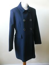 OASIS PRINCESS COAT Navy Blue Double Breasted Nipped in Waist  Sz 12 NEW