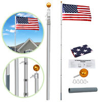 20Ft Aluminum Telescopic Flagpole Kit Telescoping W/ 3x5' U.S American Flag Kit