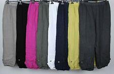 LADIES PLUS SIZE ITALIAN LAGENLOOK CASUAL BOHO LINEN CROP PANTS BAGGY TROUSERS