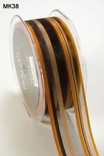 MAY ARTS RIBBONS~SHEER STRIPE~ORANGE & BLACK~1.5 INCHES WIDE~SOLD BY THE YARD!