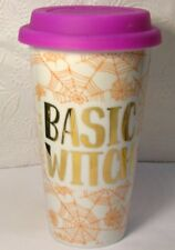 Basic WItch  Travel Mug with orange spider webs by Charming Charlie