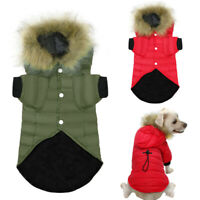 Small Dog Winter Coat with Fur Hood Chihuahua Clothes Pet Doggy Jacket Red Green
