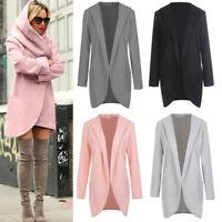 Women Woolen Hooded Thin Coat Loose Ladies Casual Hoodies Jacket Overcoat Top
