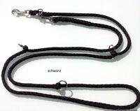 elropet® Hundeleine 2,80m, 4x verstellbar, Doppelleine, schwarz Umhängeleine