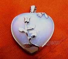 SALE Big 30*40mm Natural Blue Opal Heart and floret pendant -pen89