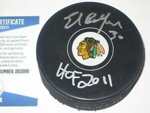 ED BELFOUR Signed Chicago BLACKHAWKS Puck + Beckett COA & HOF Inscription