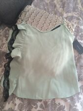 ZARA Cami Top Sea Green Contrasting Lace Trim V Neck M UK 10 BNWT