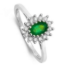 Émeraude Bague Grappe Fiançailles Diamant or Blanc Grand Tailles R - Z Appraisal