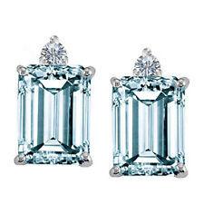 White Gold 3.00 Carat Emerald Aquamarine and Round Diamond Earring