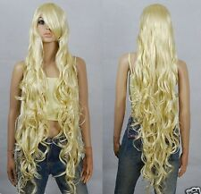New Fashion Long Blonde Long Curly Cosplay Wigs 100cm H215