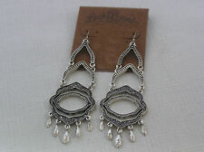 Lucky Brand Antique Silver Tone Marcasite 3-Row Chandelier Earrings