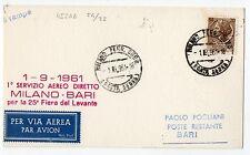 1961 POSTA AEREA ITALIANA REPUBBLICA ATI VOLO MILANO-BARI 1/10 B/5234