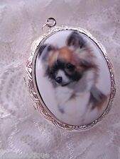 #JRJ82615 Mother's Day CHIHUAHUA LONG HAIR LOCKET MEMORY URN DOG NECKLACE SILVER