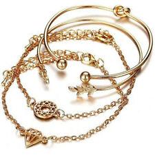 4Pcs Women Ladies Leaf Knot Diamond Pendant Gold Opening Bangle Cuff Bracelets