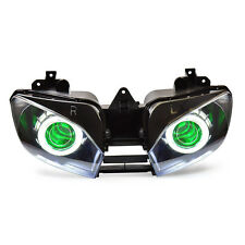 KT LED Angel Eyes Headlight Assembly For Yamaha YZF R6 1999 00 01 2002 Green Kit