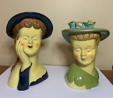 PAIR Of POTTERY LADY HEAD VASES HAT FLOWERS EYES CLOSED 1940s HAIRDO DENNIS EAST