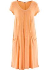 Lockeres Kleid mit Taschen in Aprikose - Gr. 36 / 38 - Q2550 - 969539