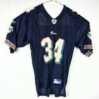 Vintage Ricky Williams #34 Miami Dolphins Blue Reebok Jersey Size Medium M Rare