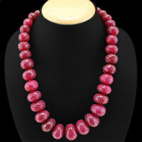 AMAZING MOST SELLING 1000.00 CTS EARTH MINED RED RUBY ROUND CARVED BEAD NECKLACE