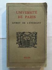 UNIVERSITE DE PARIS 1934 1935 LIVRET ETUDIANT