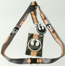 Rebel Forces Command Star Wars Deluxe Lanyard w Rubber Charm & ID Card-Licensed