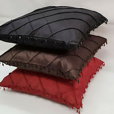 Pintuck Beaded faux Silk Cushion Cover 18in x 18in Red Black or Chocolate