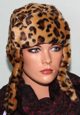 NWT Nine West Faux Fur Trooper Winter Hat Leopard Animal Print $46