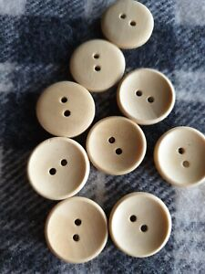 25 natural wooden sewing coat jacket kids craft knitting buttons 20mm 2 hole
