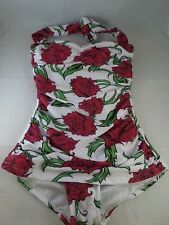 NWT Esther Williams Bathing Beauty 1pc Swimsuit in Roses Sz 8 Runs small See Sz