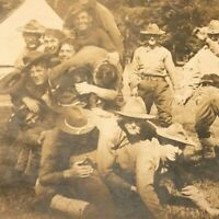 1914 RPPC Real Photo Postcard Army Soldiers in big wrestling pile Gay Interest !
