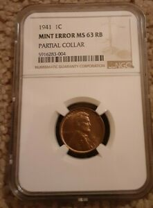 1941 P Lincoln Wheat Cent NGC MS 63 RB PARTIAL COLLAR ERROR!!