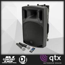 "QTX QX12PA 12"" BATTERY POWERED PA SPEAKER, 2 x WIRELESS MIC, USB/SD, BRAND NEW"