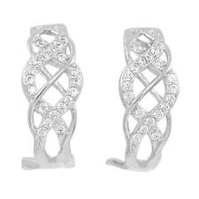 Sterling SilverPave Set J Hoops CZ Earrings with Omega backs