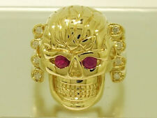 MR40- HEAVY 9ct SOLID Yellow Gold Natural Ruby & Diamond Skull Ring size 10