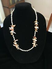 Vintage Miriam Haskell Necklace & Earrings Opalescent Beads Gold Coral Abalone
