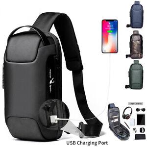 Herren Brusttasche mit USB Umhängetasche Crossbody Sling-Bag Schultertasche DE