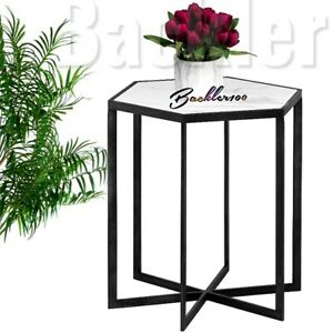 Large Marble top SIDE TABLE with black metal hexagonal framed base