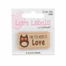 Design 2593 Iron On Love Labels Pack of 4 Woven Labels Owl You Need Is Love