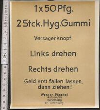 orginal alter Automaten Aufkleber  für Kondom Automaten Hyg. Gummi 2Stk, 50Pfg.