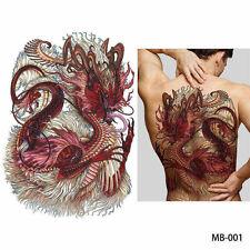 BIG GRANDE completo indietro sul petto Chinese Red Dragon Tatuaggio Adesivo TEMPORANEO BODY ART