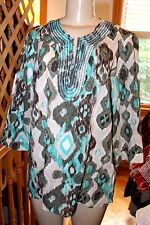 CHICO' S 100%-COTTON BEADS EMBROIDERY LADIES TUNIC SIZE 2