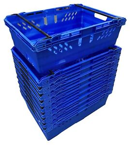 USED 10 x 38 Lt BLUE Stack Nest Bale Arm Plastic Storage Boxes Containers Crates