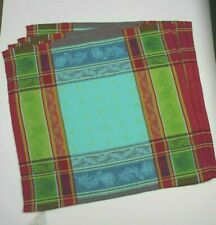 STOF FRANCE SET OF 4 COTTON COUNTRY FRENCH PROVENCE NAPKINS TURQUOISE MULTI