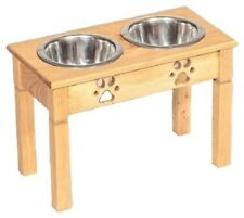 Extra Tall Table Top Dog Feeder Handmade Elevated Stand w/ 2Qt Bowls Unfinished