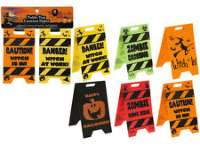 2 x Table Top Caution Signs Halloween Party Decorations Fun Quirky Trick Treat