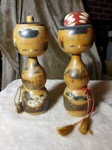 Pair of Antique Vintage Signed Japanese Kokeshi Wooden Dolls
