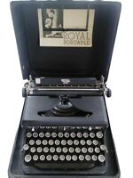 1930s ROYAL DELUXE Typewriter With Case, Black Crinkle & Chrome, certificate
