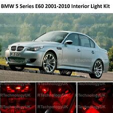 PREMIUM RED BMW 5 SERIES E60 2001-2010 INTERIOR WHITE UPGRADE LED LIGHT BULBS