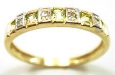 FINE 10KT YELLOW GOLD PERIDOT & DIAMOND BAND RING SIZE 7   R1081
